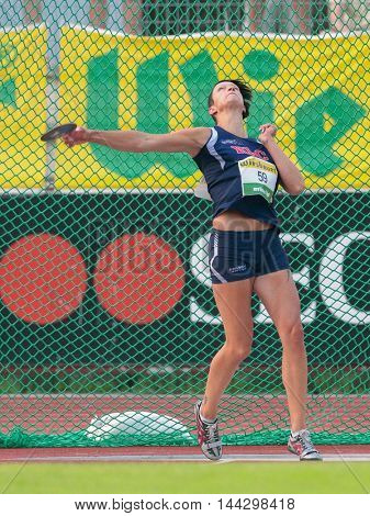 KAPFENBERG, AUSTRIA - AUGUST 8, 2015: Veronika Watzek (#59 Austria) participates in the national track and field championship.