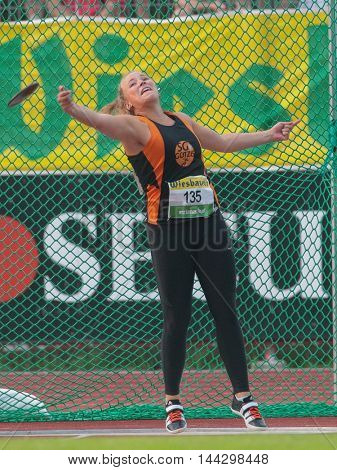 KAPFENBERG, AUSTRIA - AUGUST 8, 2015: Katharina Klien (#135 Austria) participates in the national track and field championship.