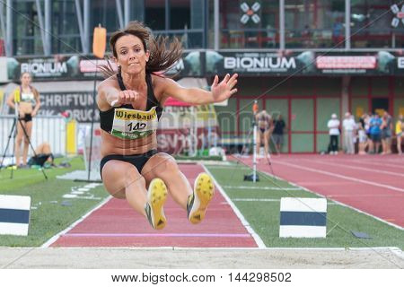 KAPFENBERG, AUSTRIA - AUGUST 8, 2015: Beate Hochleitner (#142 Austria) participates in the national track and field championship.