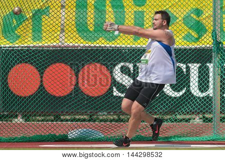 KAPFENBERG, AUSTRIA - AUGUST 8, 2015: Benjamin Siart (#166 Austria) participates in the national track and field championship.