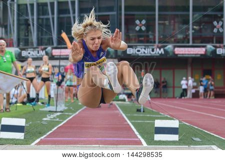 KAPFENBERG, AUSTRIA - AUGUST 8, 2015: Ivona Dadic (#129 Austria) participates in the national track and field championship.
