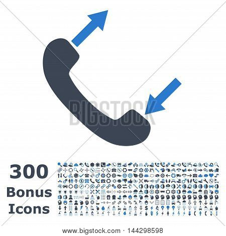 Phone Talking icon with 300 bonus icons. Vector illustration style is flat iconic bicolor symbols, smooth blue colors, white background.