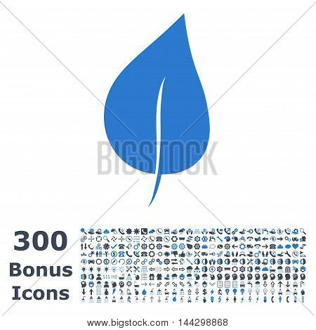 Plant Leaf icon with 300 bonus icons. Vector illustration style is flat iconic bicolor symbols, smooth blue colors, white background.