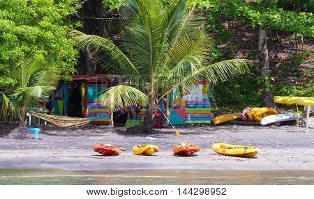 The tropical beach on Martinique island French West Indies.