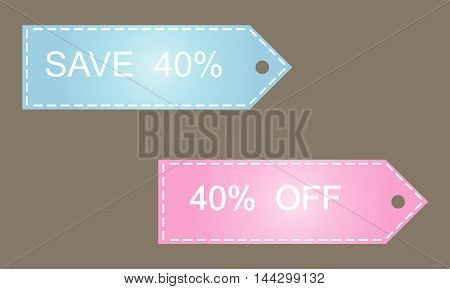 Sale 40 off on grey background vector illustration