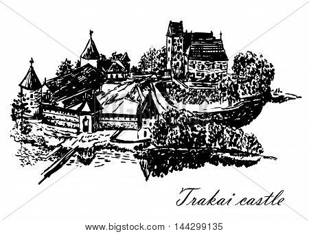 drawing a top view of the island and Trakai castle in the vicinity of Vilnius, Lithuania, sketch, hand-drawn vector illustration