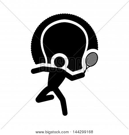 pictogram player racket ball tennis sport silhouette icon. Flat and Isolated design. Vector illustration