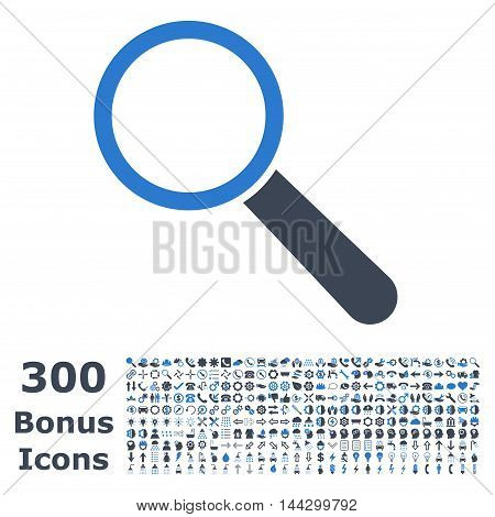 Search Tool icon with 300 bonus icons. Vector illustration style is flat iconic bicolor symbols, smooth blue colors, white background.