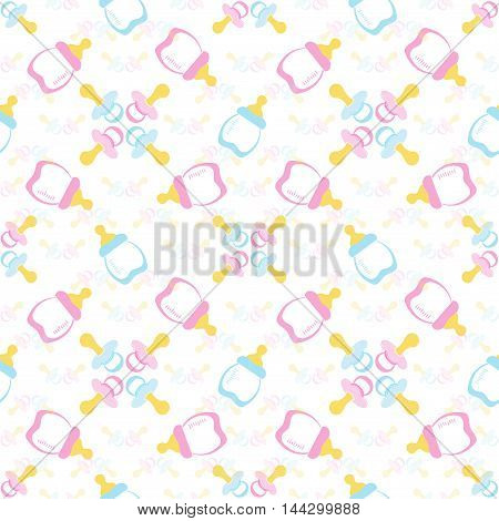 Baby bottle and Baby's dummy. Comforter seamless pattern background. Kids seamless pattern. EPS 10
