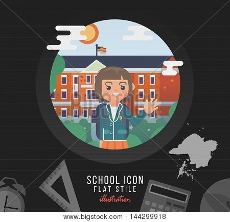College backdrop in flat style. Back to school creative card with girl teen in uniform.