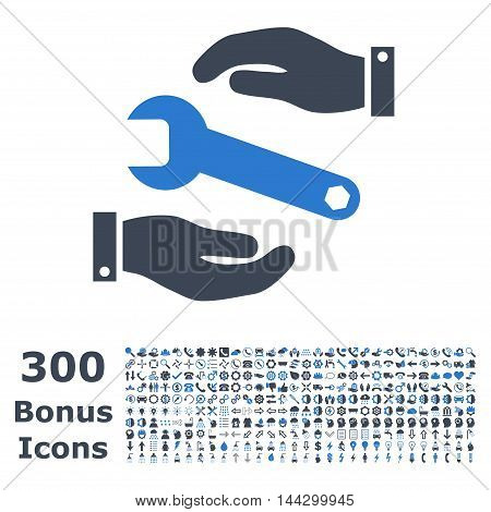 Service icon with 300 bonus icons. Vector illustration style is flat iconic bicolor symbols, smooth blue colors, white background.