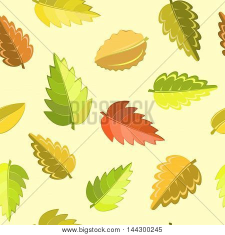 bright autumn pattern with green, yellow, brown and red leaves. Seanless vector