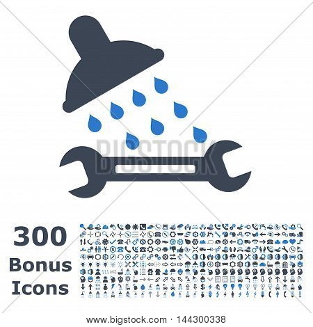 Shower Plumbing icon with 300 bonus icons. Vector illustration style is flat iconic bicolor symbols, smooth blue colors, white background.