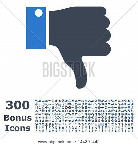 Thumb Down icon with 300 bonus icons. Vector illustration style is flat iconic bicolor symbols, smooth blue colors, white background.