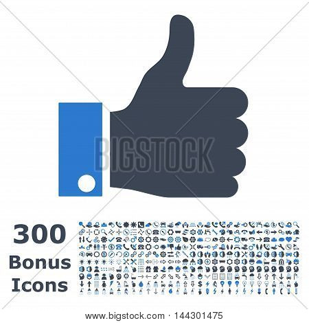 Thumb Up icon with 300 bonus icons. Vector illustration style is flat iconic bicolor symbols, smooth blue colors, white background.