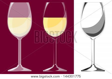 Three glasses of white wine. Isolated. EPS10