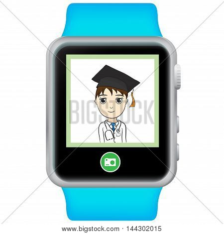 Smart Watch Vector Illustration with white background.
