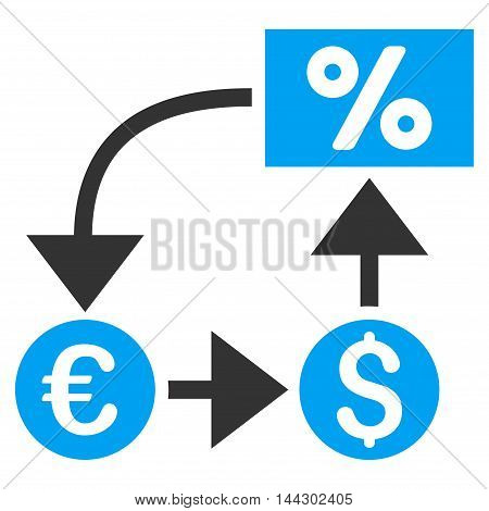 Currency Cashflow icon. Vector style is bicolor flat iconic symbol, blue and gray colors, white background.