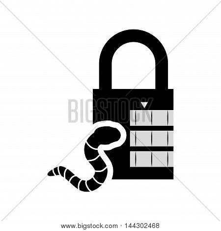 worm padlock cyber security system protection silhouette icon. Flat and Isolated design. Vector illustration