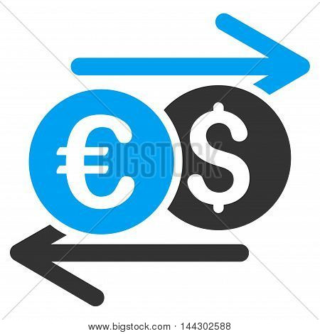 Currency Exchange icon. Vector style is bicolor flat iconic symbol, blue and gray colors, white background.
