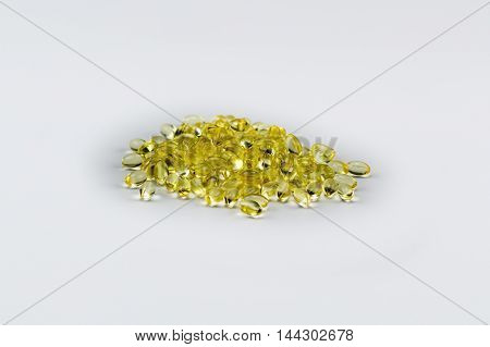 Vitamin E Pills Capsules White Background Isolated Pile Stack Medium View