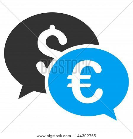 Currency Transactions icon. Vector style is bicolor flat iconic symbol, blue and gray colors, white background.