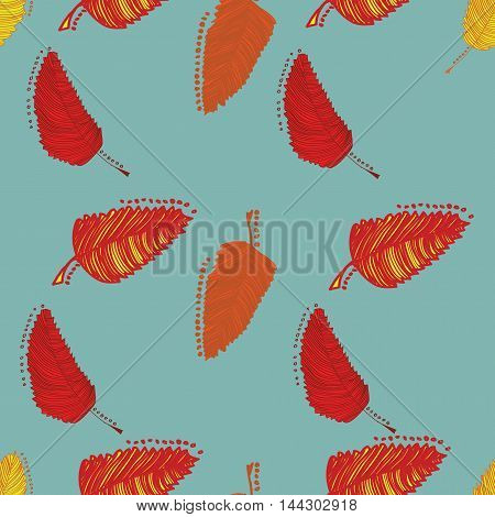 Vector seamless pattern with autumn leaves. Foliage