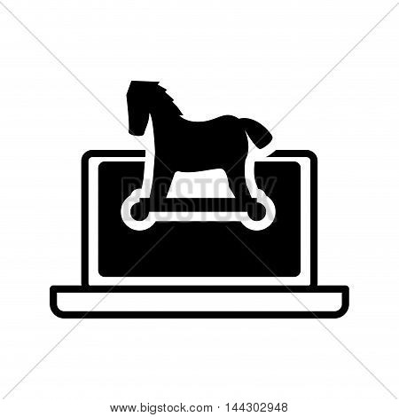 laptop horse cyber security system protection silhouette icon. Flat and Isolated design. Vector illustration