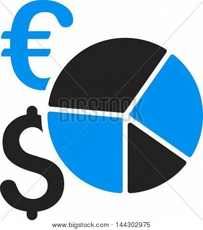 Dollar and Euro Pie Chart icon. Vector style is bicolor flat iconic symbol, blue and gray colors, white background.