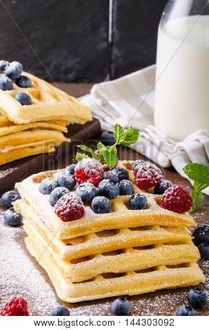Waffles With Berries Homemade