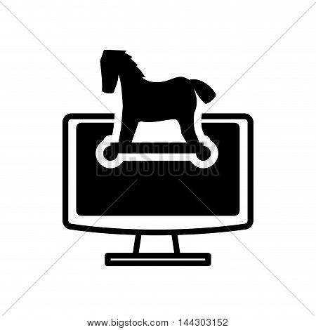 computer horse cyber security system protection silhouette icon. Flat and Isolated design. Vector illustration