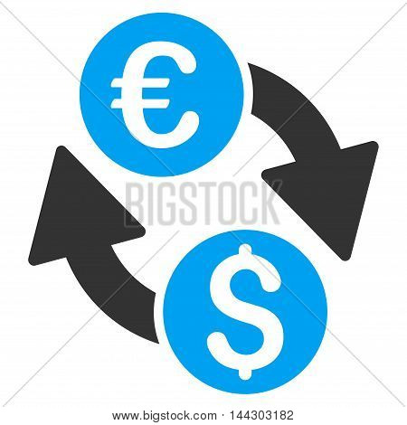 Euro Dollar Change icon. Vector style is bicolor flat iconic symbol, blue and gray colors, white background.
