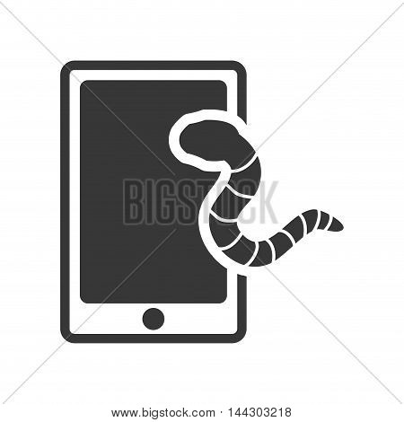 smartphone worm cyber security system protection silhouette icon. Flat and Isolated design. Vector illustration