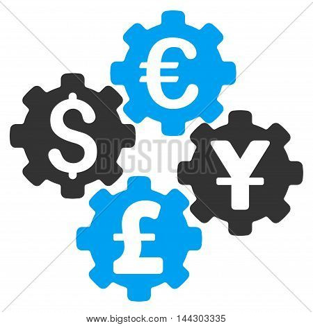 Financial Gears icon. Vector style is bicolor flat iconic symbol, blue and gray colors, white background.
