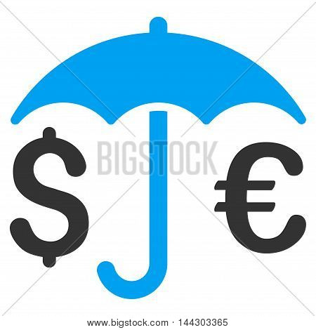Financial Umbrella icon. Vector style is bicolor flat iconic symbol, blue and gray colors, white background.