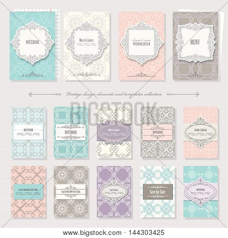 Templates, cards and frames in vintage style. Pastel colors. Can be used in different variations.