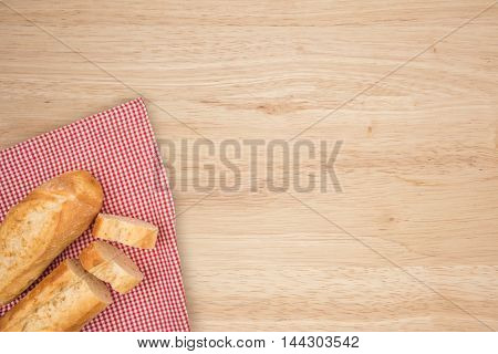 Two baguettes. Abstract background, empty template. Top view.
