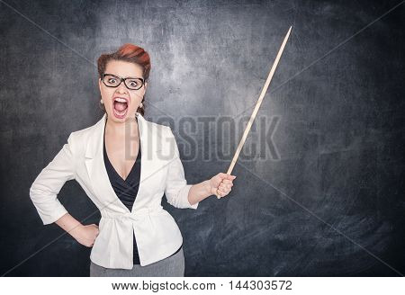 Angry Screaming Teacher With Pointer