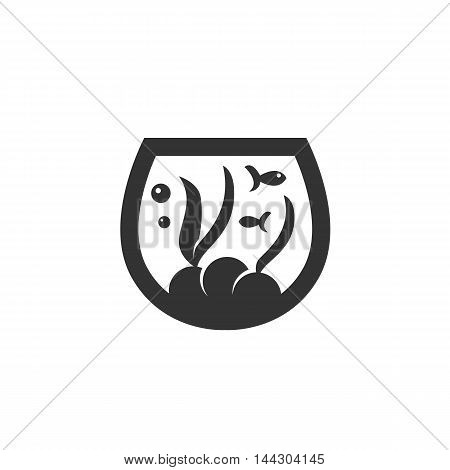 Vector Aquarium icon isolated on a white background. Aquarium logo in flat style. Simple icon as element for design. Vector symbol, sign, pictogram, illustration