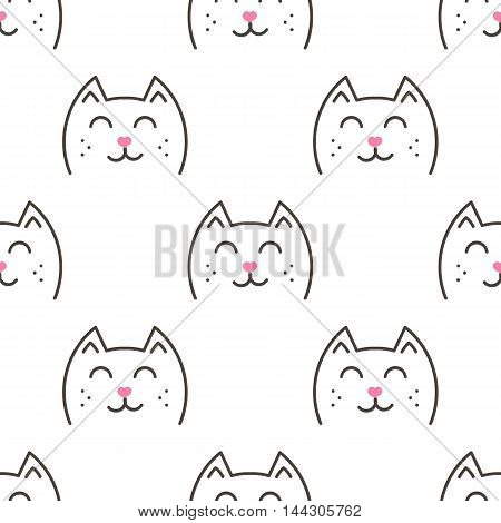 Cute doodle cats, kittens, animals seamless pattern background.