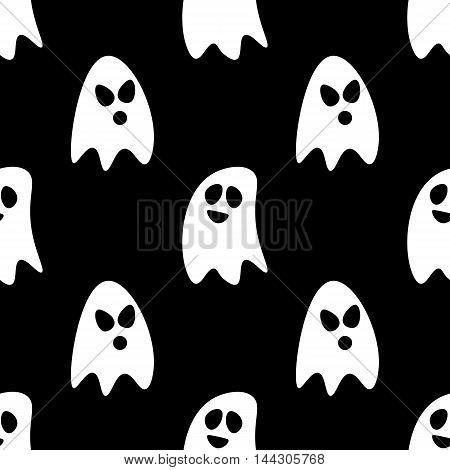 Flat design cartoon halloween ghosts seamless pattern background.