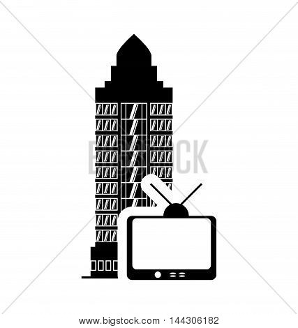 tv hotel building windows service silhouette icon. Flat and Isolated design. Vector illustration