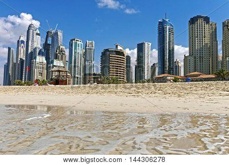 UAE January 16, 2016: Panoramic view of Jumeirah Beach, Dubai. UNITED ARAB EMIRATES.