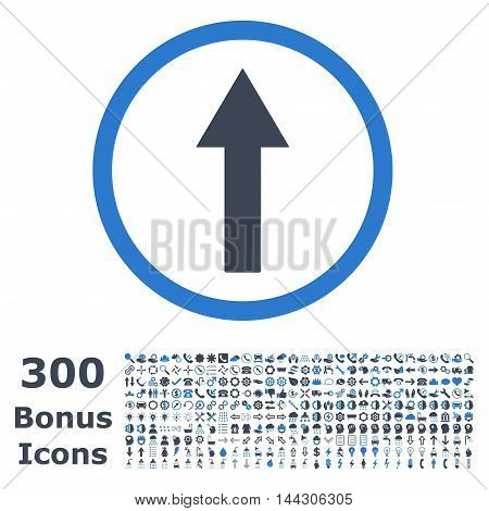 Up Rounded Arrow icon with 300 bonus icons. Vector illustration style is flat iconic bicolor symbols, smooth blue colors, white background.