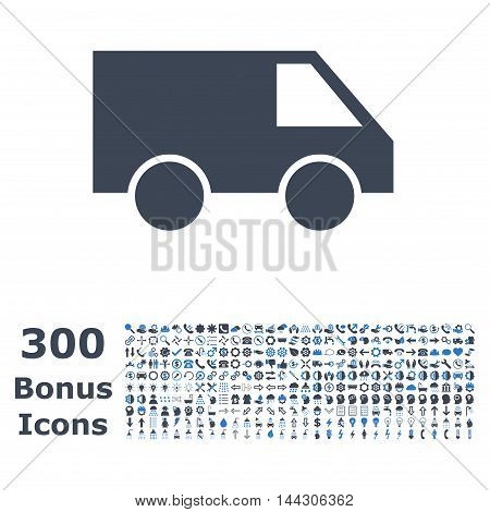 Van icon with 300 bonus icons. Vector illustration style is flat iconic bicolor symbols, smooth blue colors, white background.
