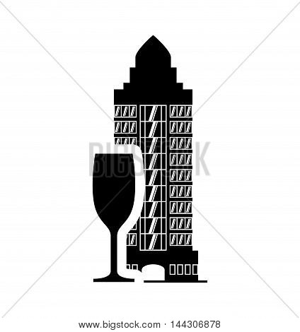 cup hotel building windows service silhouette icon. Flat and Isolated design. Vector illustration
