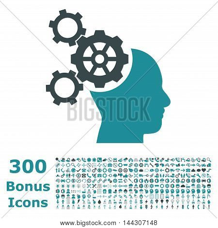 Brain Mechanics icon with 300 bonus icons. Vector illustration style is flat iconic bicolor symbols, soft blue colors, white background.
