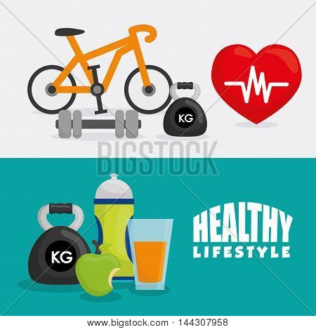 juice weight apple bike heart healthy lifestyle fitness gym bodybuilding icon set. Colorful and flat design. Vector illustration