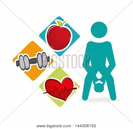 pictogram weight lifting heart apple healthy lifestyle fitness gym bodybuilding icon set. Colorful and flat design. Vector illustration