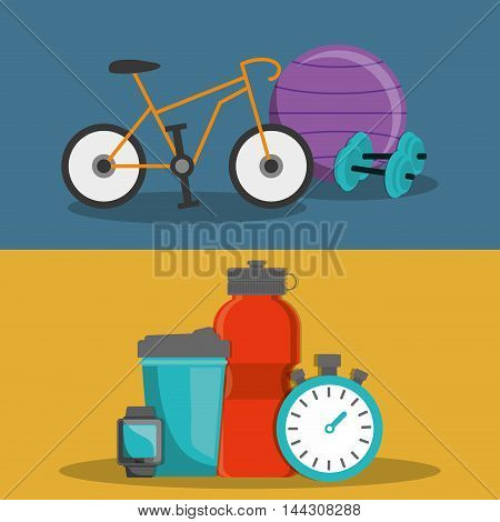 bike weight ball bottle chronometer watch healthy lifestyle fitness gym bodybuilding icon set. Colorful and flat design. Vector illustration